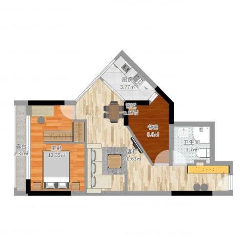新重庆公寓2室1厅1卫1厨61.00㎡户型图