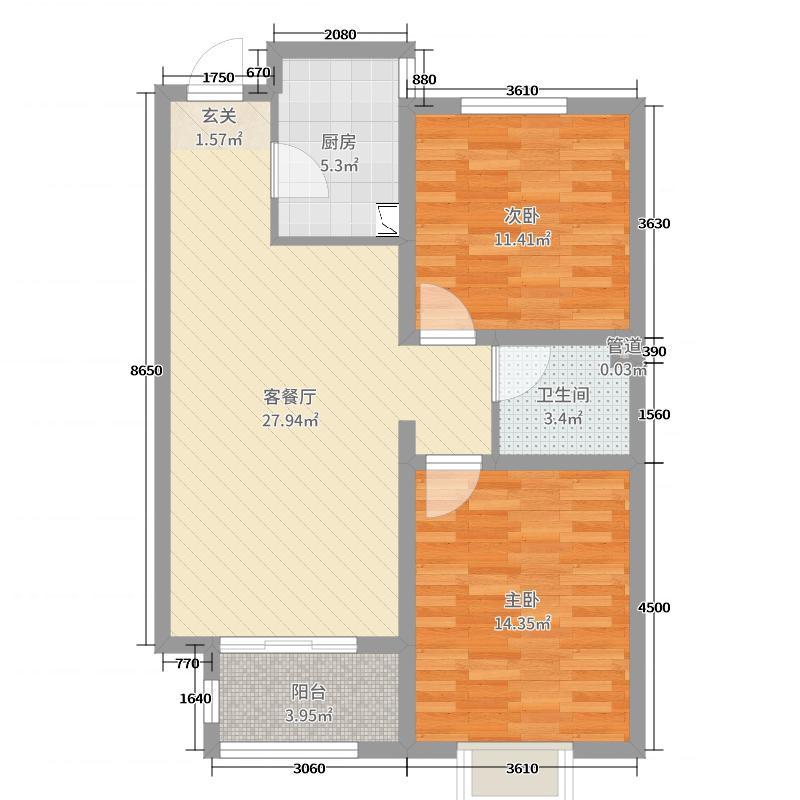 瑞泽家园83.00㎡2居户型2室2厅1卫1厨