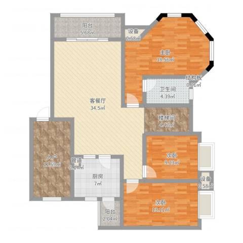 明诚景怡苑3室2厅1卫1厨140.00㎡户型图