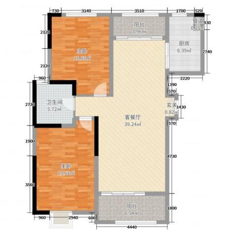 东城阳光府邸2室2厅1卫1厨126.00㎡户型图