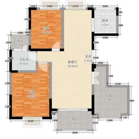 东城阳光府邸2室2厅1卫1厨127.00㎡户型图