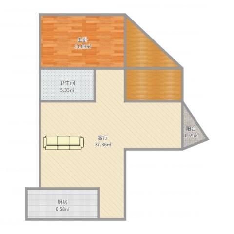 雍和花园1室1厅1卫1厨94.00㎡户型图