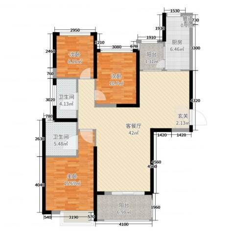 杨凌恒大城3室2厅2卫1厨129.00㎡户型图