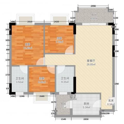 阳光粤港三期3室2厅2卫1厨95.00㎡户型图