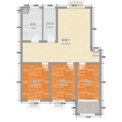 世纪尊园3室2厅1卫1厨100.00㎡户型图