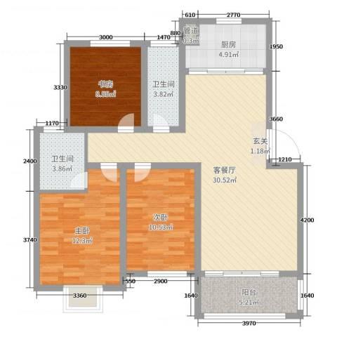 世纪尊园3室2厅2卫1厨100.00㎡户型图