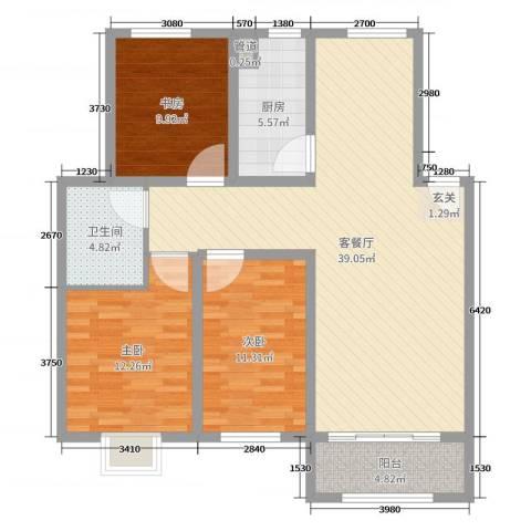 世纪尊园3室2厅1卫1厨110.00㎡户型图