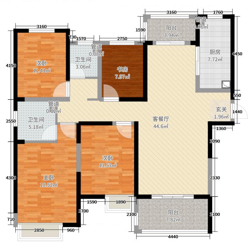 康桥知园155.00㎡A1户型4室4厅2卫1厨