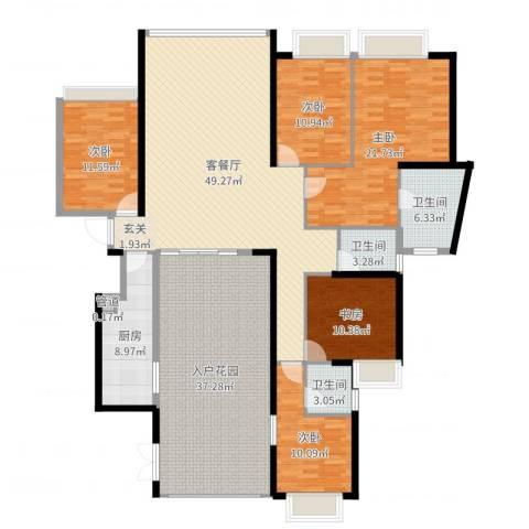 国际邮轮城一期5室2厅3卫1厨216.00㎡户型图