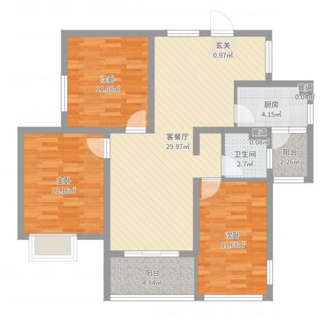凤凰花园3室2厅1卫1厨99.00㎡户型图
