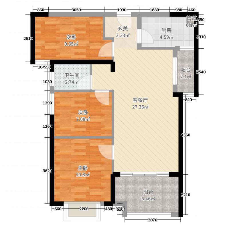 东海湾十二宴89.00㎡户型3室3厅1卫1厨