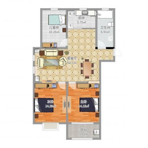 燕铭华庄3室2厅1卫1厨111.00㎡户型图