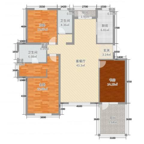 金色雅居3室2厅2卫1厨145.00㎡户型图