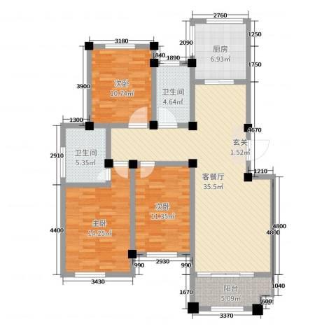 恒通大厦3室2厅2卫1厨117.00㎡户型图