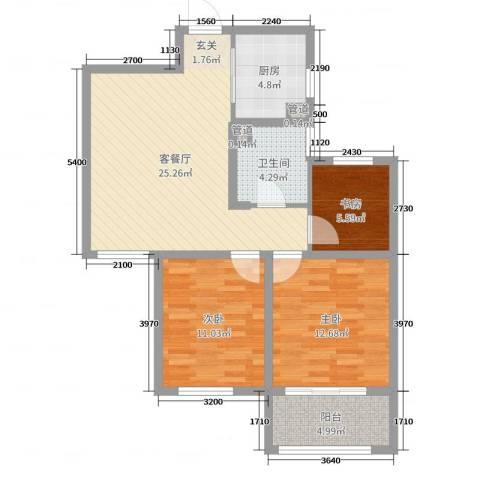 万行中心3室2厅1卫1厨86.00㎡户型图