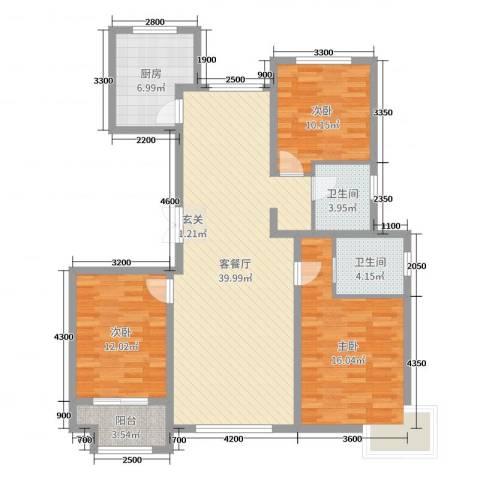 花栖左岸3室2厅2卫1厨140.00㎡户型图