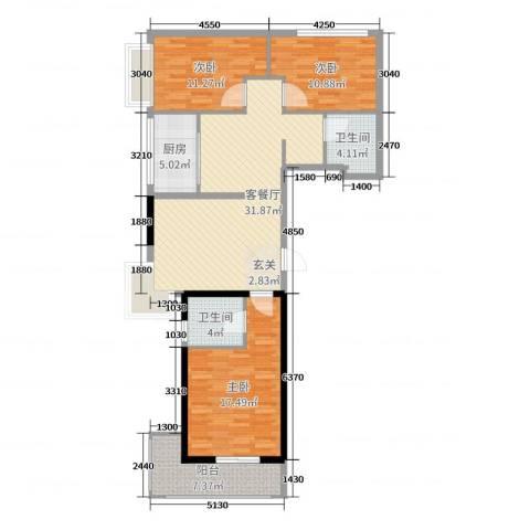 都市名园3室2厅2卫1厨115.00㎡户型图