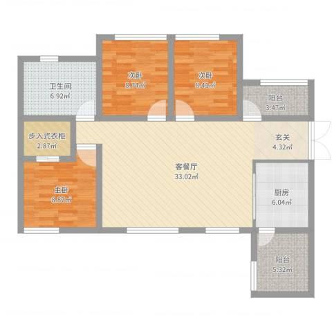 角美中骏四季阳光3室2厅1卫1厨105.00㎡户型图