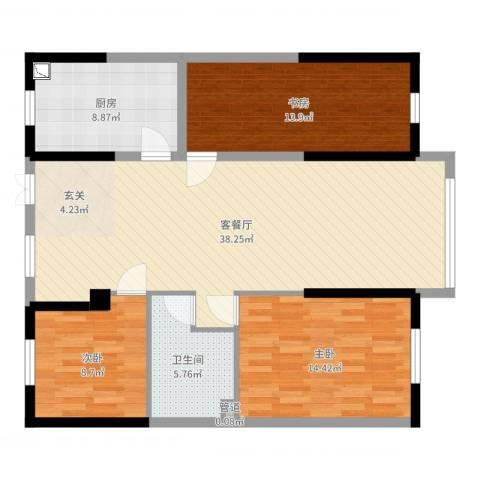 永利广场3室2厅1卫1厨112.00㎡户型图