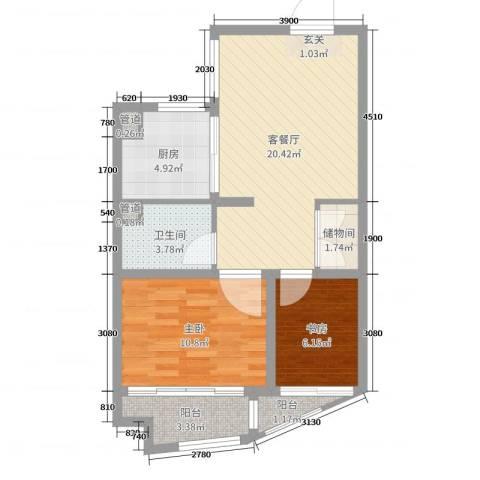 金色广场2室2厅1卫1厨66.00㎡户型图