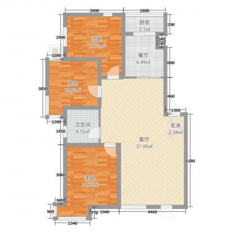 宏运・凤凰新城二期3室2厅1卫1厨118.00㎡户型图