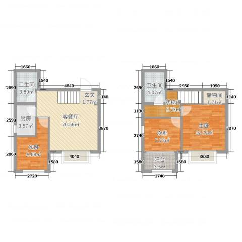 锦绣鹏城3室2厅2卫1厨100.00㎡户型图