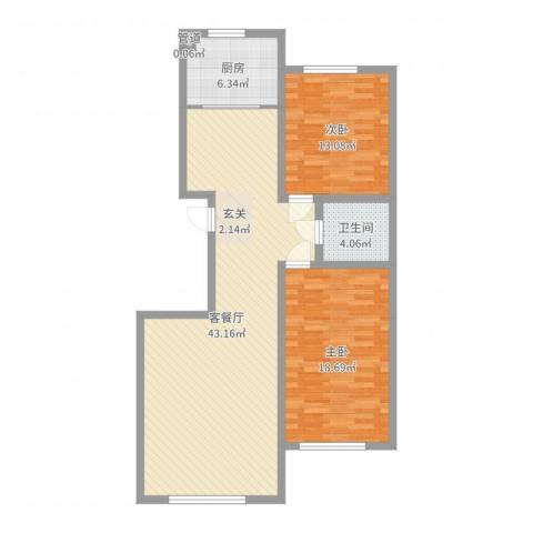 明日星城东河花苑2室2厅1卫1厨107.00㎡户型图
