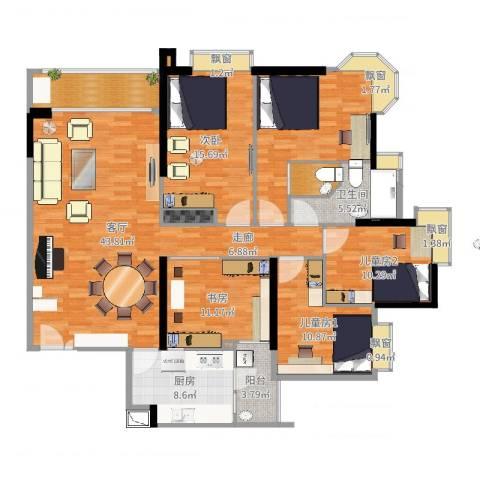 高雅湾2室1厅1卫1厨184.00㎡户型图