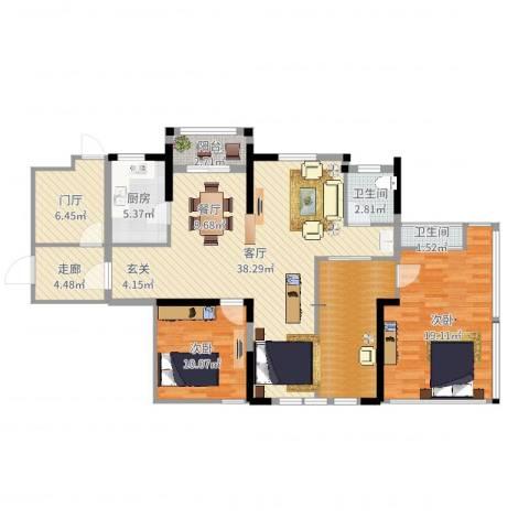 统建天成美雅2室1厅2卫1厨127.00㎡户型图