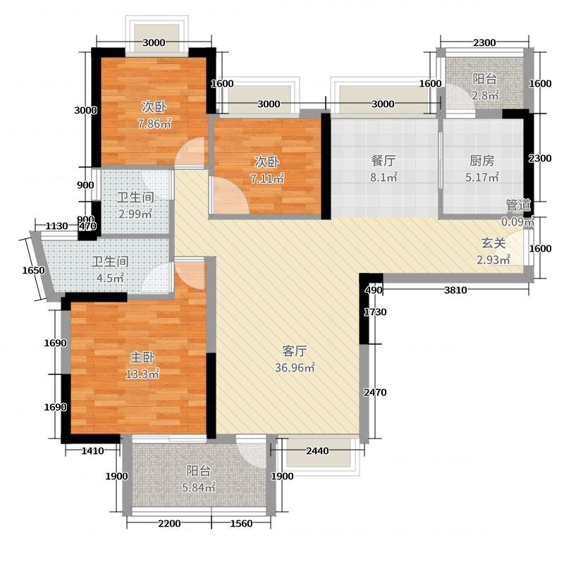 小榄锦园118.00㎡户型3室3厅2卫1厨