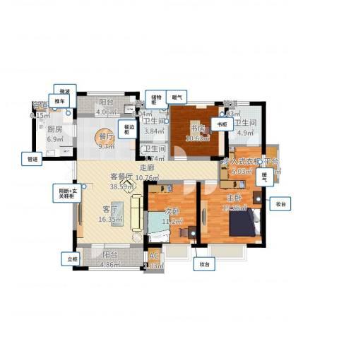 天安珑园3室2厅2卫1厨134.00㎡户型图