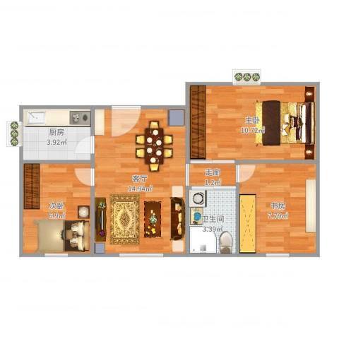 通州晶彩亦庄3室1厅1卫1厨61.00㎡户型图