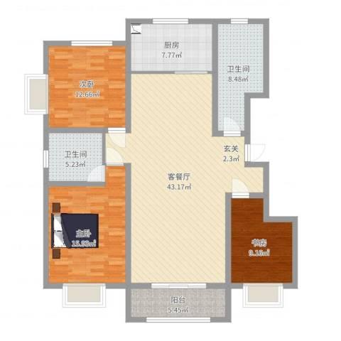 交通小区3室2厅2卫1厨135.00㎡户型图