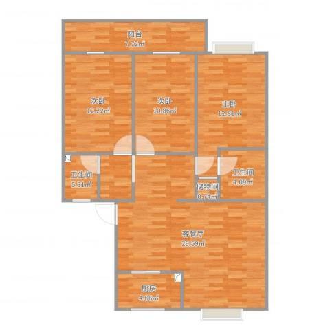 兴越小区3室2厅2卫1厨109.00㎡户型图