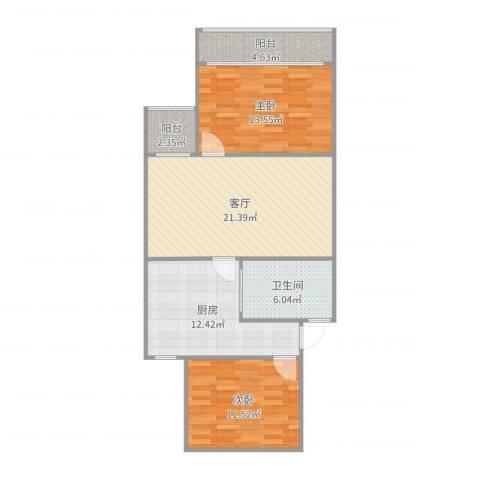 众盛公寓2室1厅1卫1厨71.91㎡户型图