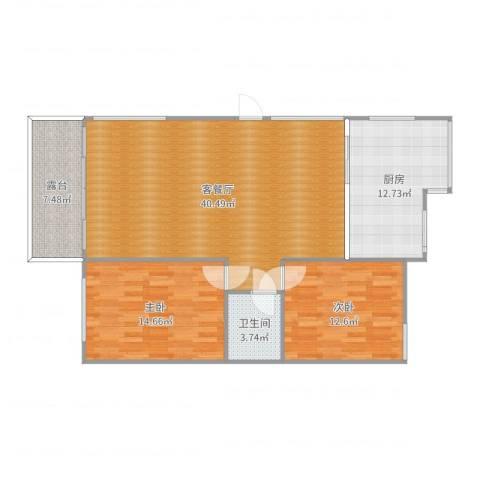 锦绣年华一期2室2厅1卫1厨115.00㎡户型图