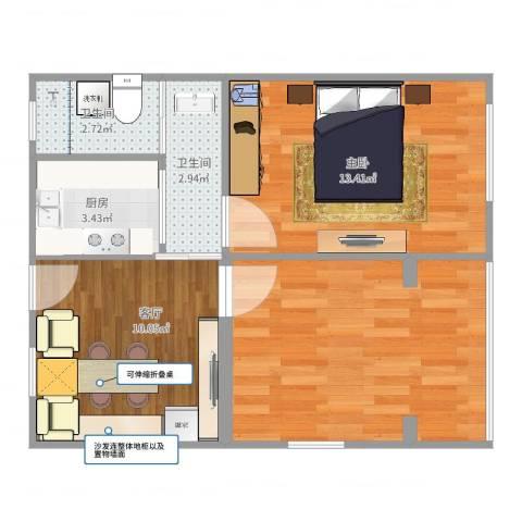 红莲小区1室1厅2卫1厨58.00㎡户型图