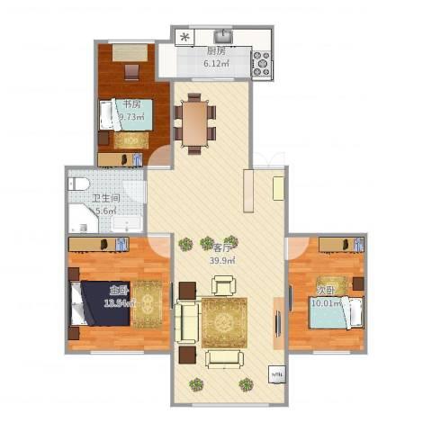 莱州栋盛苑3室1厅1卫1厨106.00㎡户型图