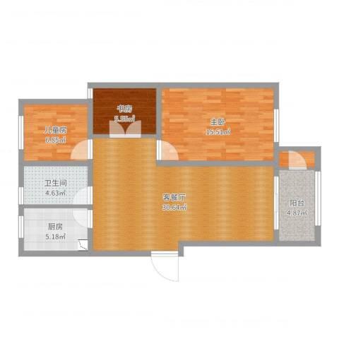 新洲・欧洲城3室2厅1卫1厨93.00㎡户型图
