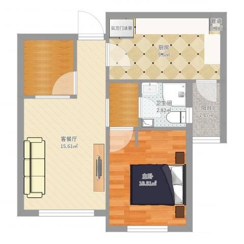 远洋广场1室2厅1卫1厨58.00㎡户型图