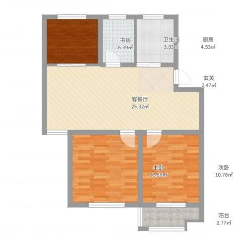 万厦・四季华廷3室2厅1卫1厨95.00㎡户型图