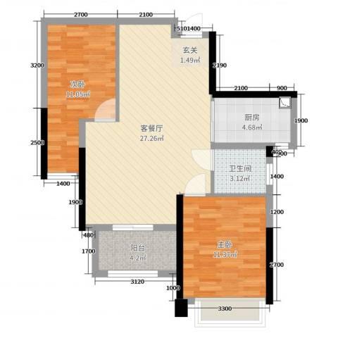钰海上峰2室2厅1卫1厨84.00㎡户型图