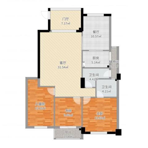 左岸丽川3室2厅2卫1厨130.00㎡户型图