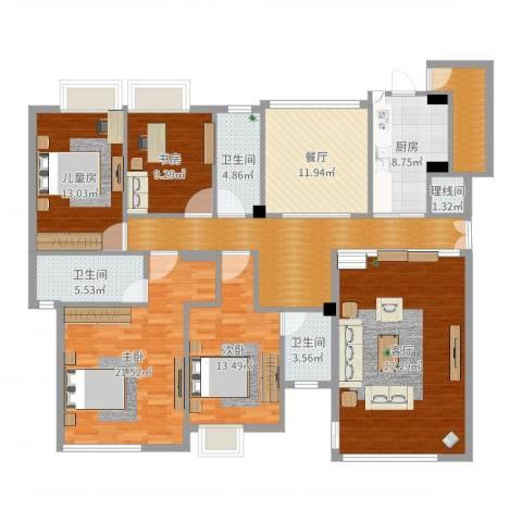 松湖花园4室2厅4卫2厨177.00㎡户型图