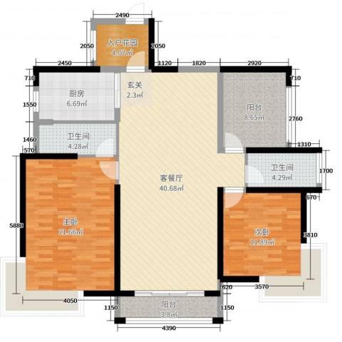 凯旋名门花园2室2厅2卫1厨127.00㎡户型图