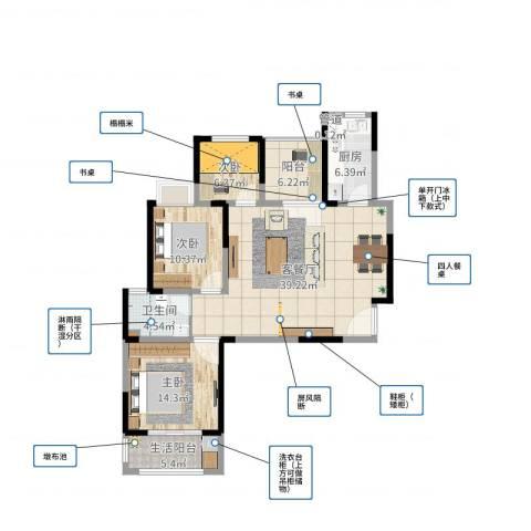 富贵园3室2厅1卫2厨116.00㎡户型图