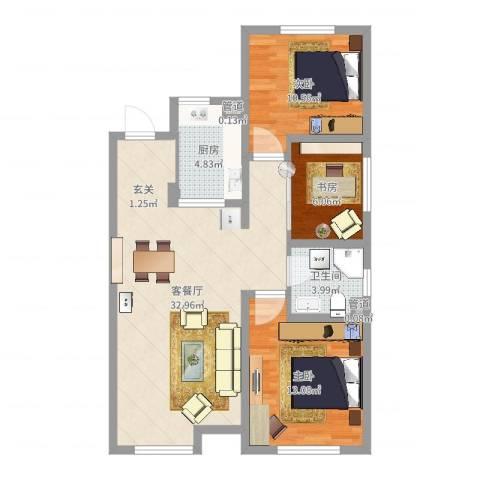 教师之家3室2厅2卫2厨90.00㎡户型图