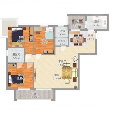 翰林尚城3室4厅2卫1厨99.16㎡户型图