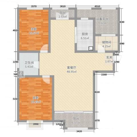 哈尔滨星光耀广场2室2厅1卫1厨146.00㎡户型图