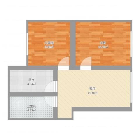 恒大华城新华苑2室1厅1卫1厨57.00㎡户型图